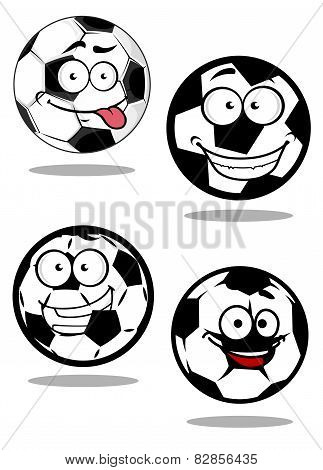 Cartoontd football or soccer balls mascots