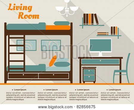 Living room flat interior design infographic