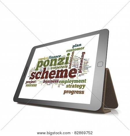 Ponzi Scheme Word Cloud On Tablet