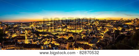 Aerial view of Lisbon at night Portugal. Sao Jorge Castle poster