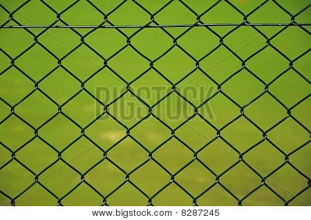 Close up photography of a grid metal net fence. poster