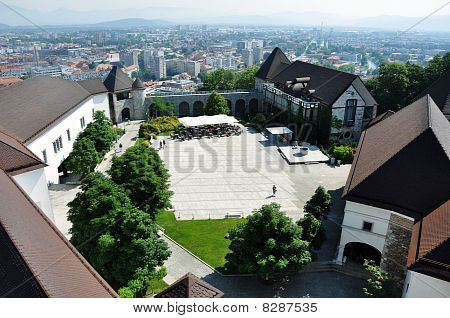 View over castle courtyard Ljubljana
