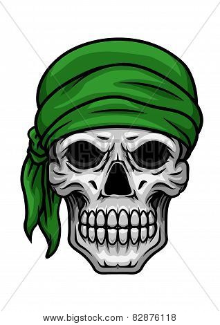Cartoon skull in green bandana