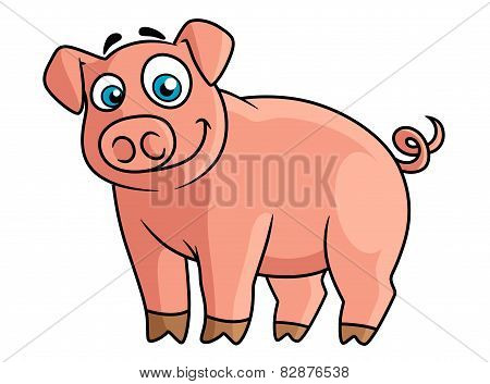 Cute pink piggy in cartoon style