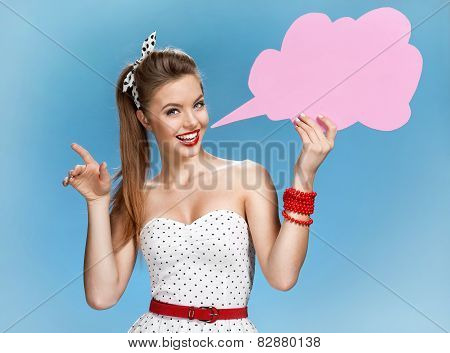 Amazing young woman showing sign speech bubble banner looking happy excited
