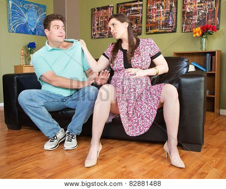 Mad Pregnant Lady Grabs Man
