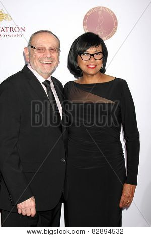 LOS ANGELES - FEB 14:  Stanley Isaacs, Cheryl Boone Isaacs at the 2015 Make-up and Hair Stylists Guild Awards at a Paramount Theater on February 14, 2015 in Los Angeles, CA