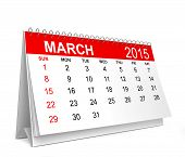2015 Calendar. March. 3d illustration isolated on white background poster