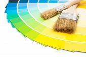 Paint brushes with colour swatch cards on white background poster