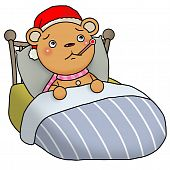 Gingerbread bear sick lying on bed and taking temperature with a thermometer. poster