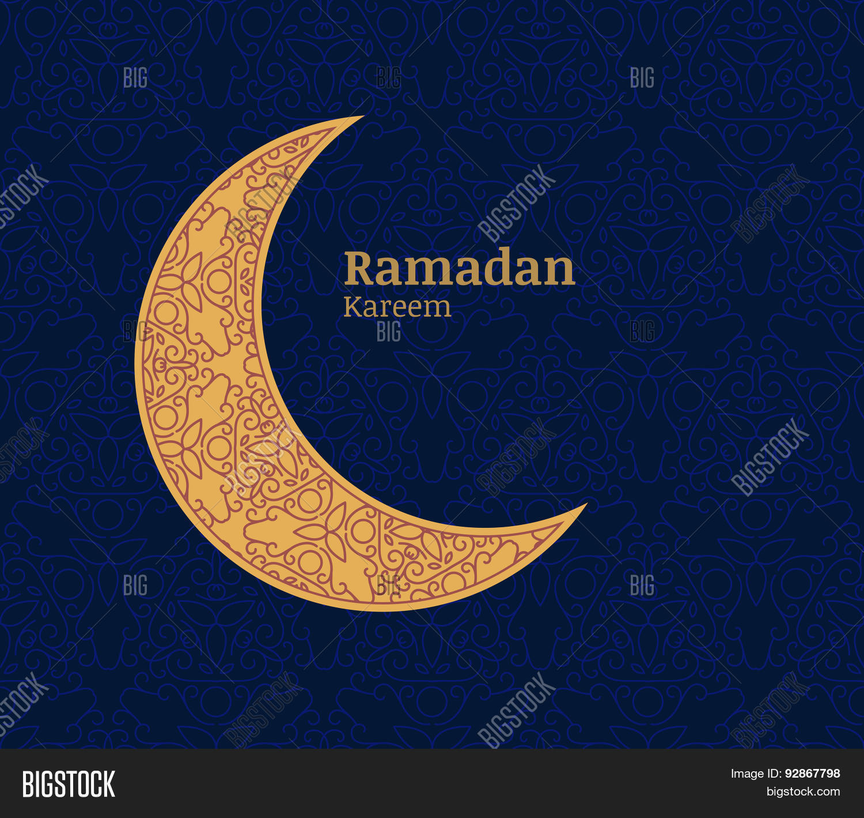 Ramadan greeting card golden vector photo bigstock ramadan greeting card with golden decorative moon and floral seamless pattern background ramadan ka kristyandbryce Image collections