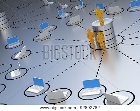 Database engineer, standing at an abstract designed database server environment poster