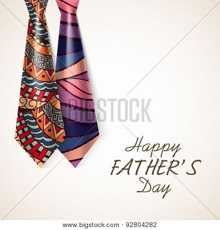 Beautiful glossy floral design decorated neckties for Happy Father's Day celebration.