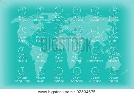 World map with time zones infographics background
