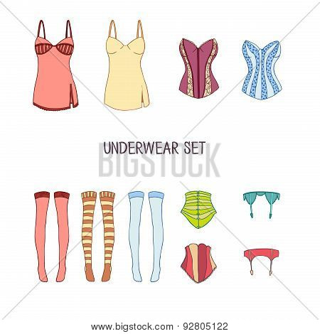Set of underwear. Colored stockings, corsets, garter belt, robe hand-drawn doodle in style. Vector.