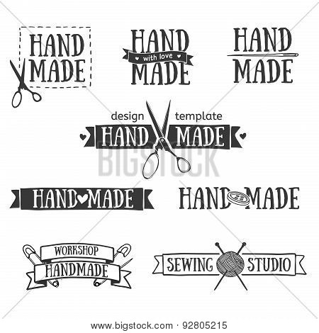 Set of vintage retro handmade badges, labels and logo elements, retro symbols for local sewing shop,