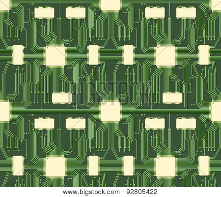 Seamless microchip industrial electronic circuit vector pattern