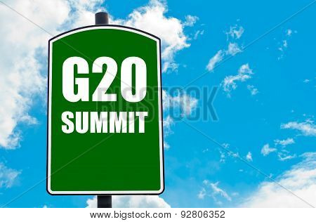 G20 SUMMIT written on green road sign against clear blue sky background. Concept image with available copy space poster