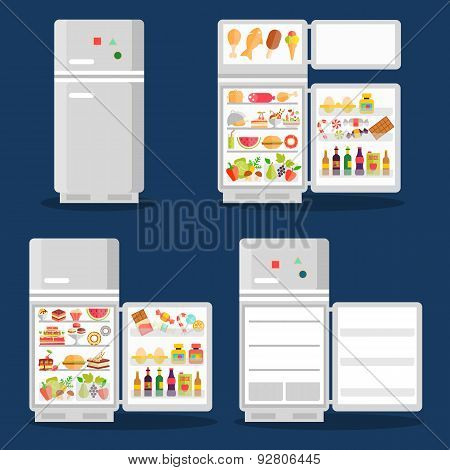 Opened refrigerator with food in flat style