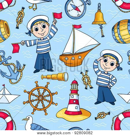 Sailors Seamless Pattern