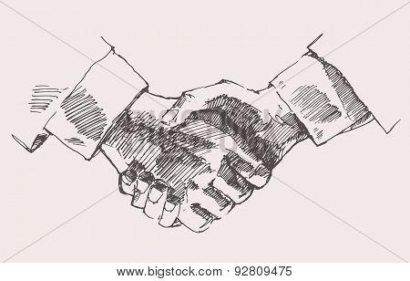 Drawing Shake Hands Partnership Vector Sketch