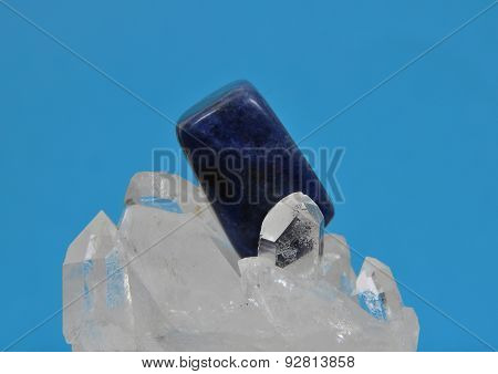 Sodalite On Rock Crystal