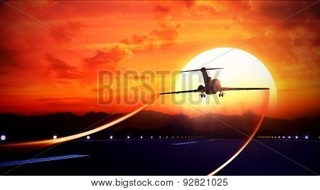 3d rendered illustration of big jet passenger plane fly up over take-off runway from airport and fliyng out in sunset sky poster