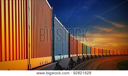 Wagon Of Freight Train With Containers On The Sky Background