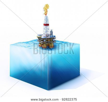 Cross Section Of Ocean With Oil Platform