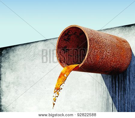 Dirty Water Stems From The Rusty Pipe In Concrete Wall