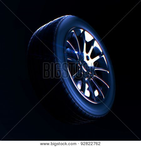 3d macro illustration of a car tire with depth of field blur on black background. Selective focus. DOF blur effect poster