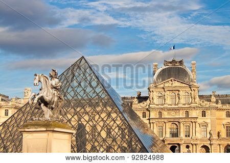 Louis Xiv Statue In Front Of Louvre
