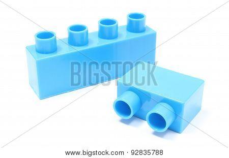 Blue Building Blocks On White Background