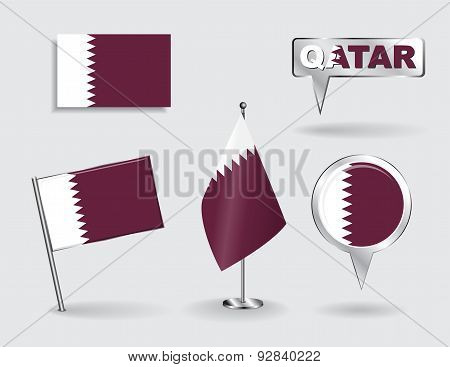Set of Qatari pin, icon and map pointer flags. Vector