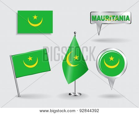 Set of Mauritanian pin, icon and map pointer flags. Vector