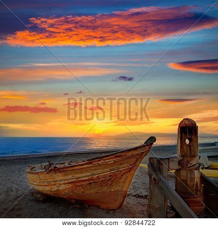 Almeria Cabo de Gata beached boats in San Miguel beach of Spain