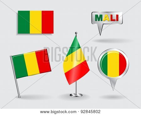 Set of Malian pin, icon and map pointer flags. Vector