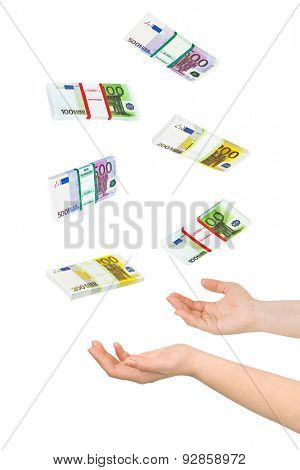 Juggling hands and money isolated on white background