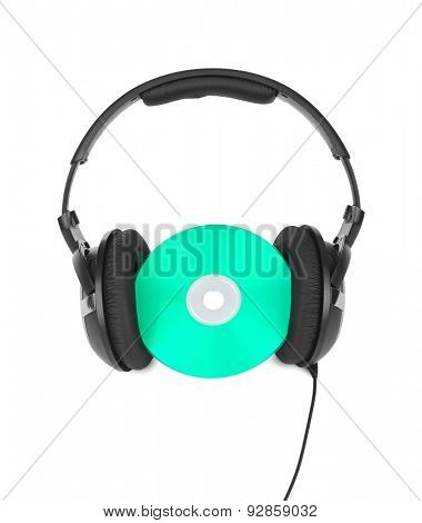 Headphones and cd isolated on white background