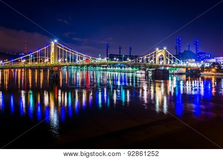 The Roberto Clemente Bridge At Night, In Pittsburgh, Pennsylvania.