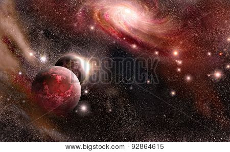 Planets And Galaxy In Red Tones