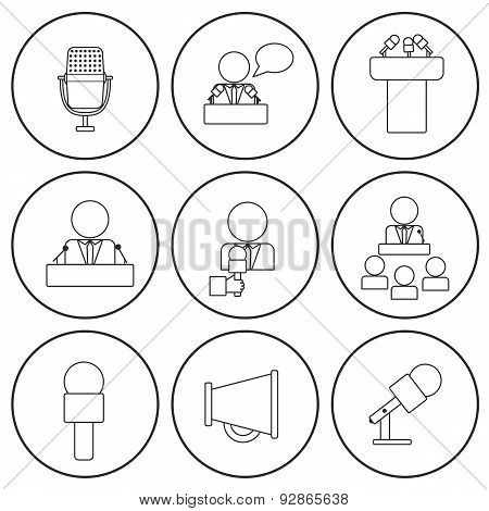 Set of isolated thin line icons on public speaking theme with people, microphones, speakers, tribune