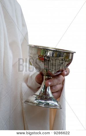 Old Goblet Holded By Man Dressed In Roman Robe