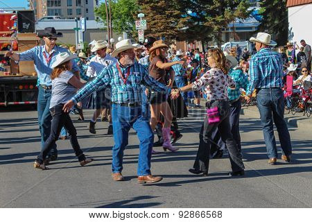 Square Dance On The Street At Calgary Stampede Parade