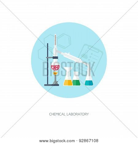 Chemical Concept. Organic Chemistry. Synthesis Of Substances. Flat Design. Vector