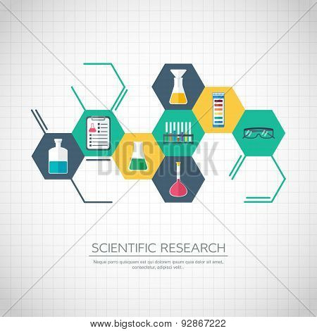 Research Concept. Chemical Banner, Background, Cover. Chemical Icons. Flat Design. Vector