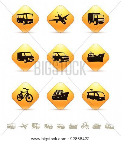 Transportation icons on yellow rhombic buttons. Vector illustration