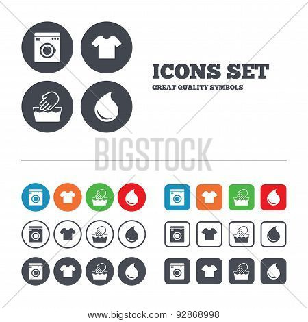 Wash machine icon. Hand wash. T-shirt clothes symbol. Laundry washhouse and water drop signs. Not machine washable. Web buttons set. Circles and squares templates. Vector poster