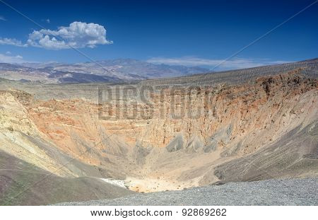 Geological Formations in Ubehebe Volcano in Death Valley National Park. The Ubehebe Crater is the largest crater in Death Valley. poster