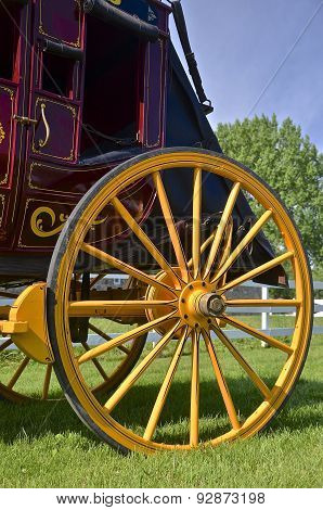 Wooden wheel of a stagecoach